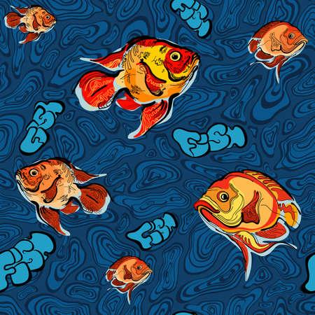 acquarium: Colorful illustration of fish seamless pattern