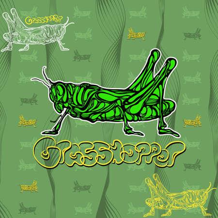 lea: seamless pattern of grasshopper