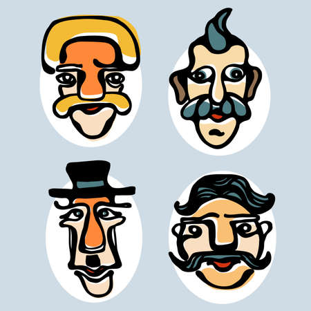 Colorful illustration of funny faces
