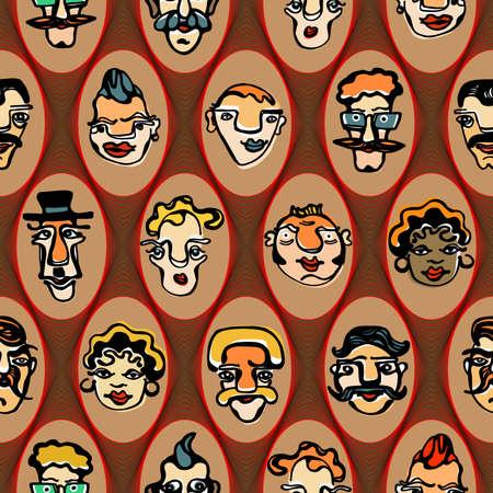 jest: Colorful illustrazione di facce buffe. seamless pattern Vettoriali