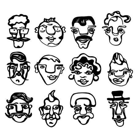 prank: A black & white illustration of funny faces Illustration