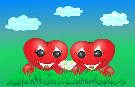 Two enamoured hearts on a green grass under clouds