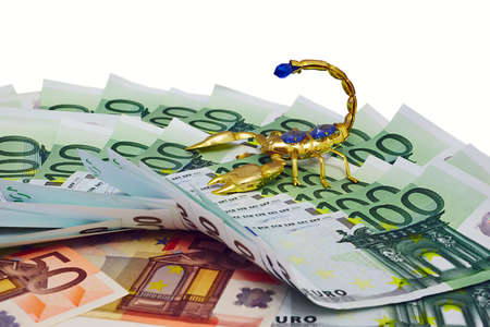 money and gold scorpion, jewel on white background   Stock Photo