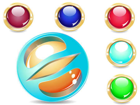 several brilliant varicoloured buttons and magic ball
