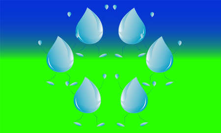 group rain drop falls in green area under by blue sky  Illustration