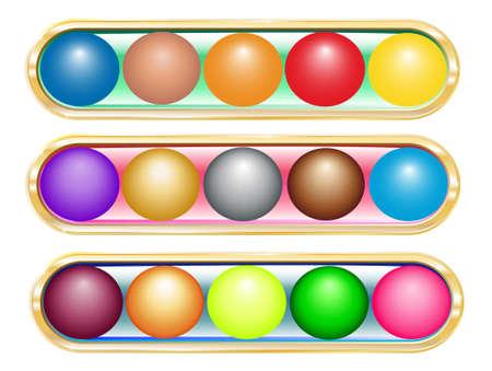 several brilliant varicoloured buttons on gold base   Illustration