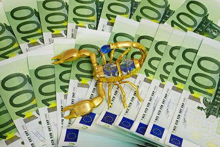 money euro and gold scorpion, jewel on white background   Stock Photo