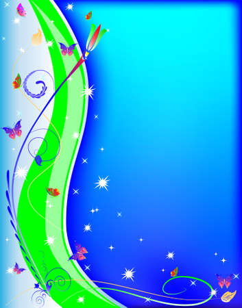 blue abstract background with wavy lines and butterflies