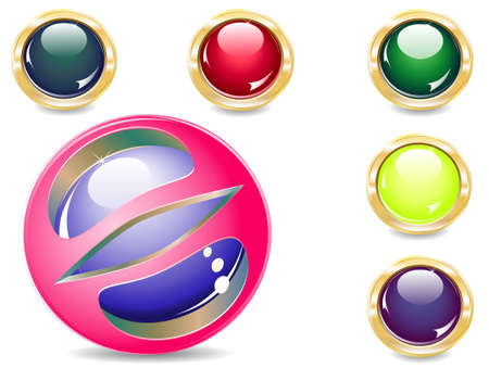 several brilliant varicoloured buttons and magic ball Illustration