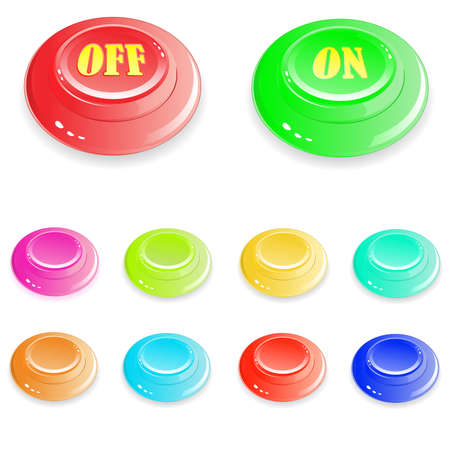 several brilliant varicolored buttons on white background