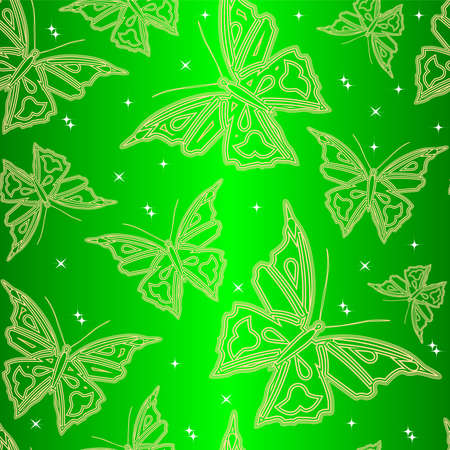 Seamless ornamental wallpaper with butterfly, floral pattern, illustration, background  Illustration