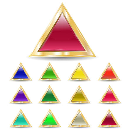 several brilliant varicolored triangular buttons on gold base  Illustration