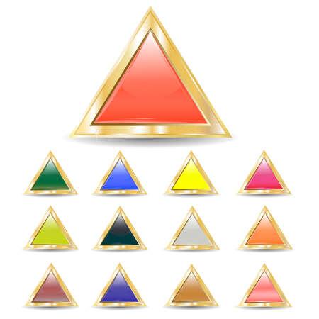 several brilliant varicolored triangular buttons on gold base several brilliant varicolored triangular buttons on gold base