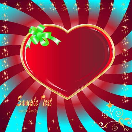 postcard heart, holiday  Vector