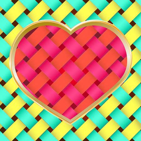 braided heart on braided texture  Vector