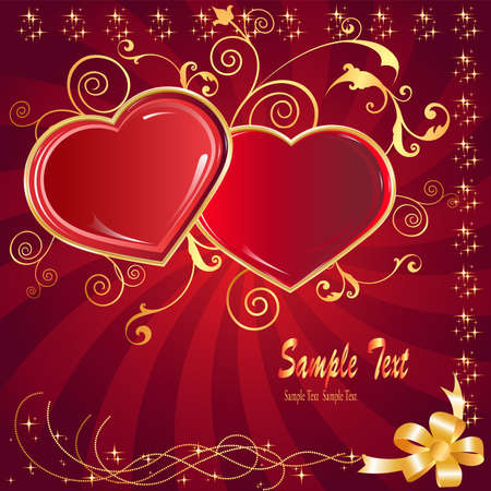 postcard two hearts and love holiday on every day  Vector