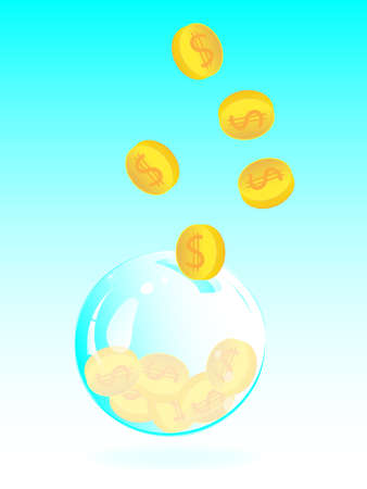 Pervaded soap bubble piggy bank with golden coin