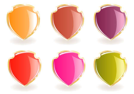 Collection from shields of different colours on gold