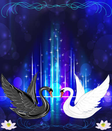 two swans on a bright abstrakny background Vector