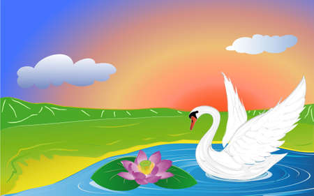 swan and lotus on lake in mountain Vector
