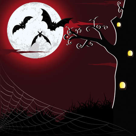 night bat moon tree web grass halloween