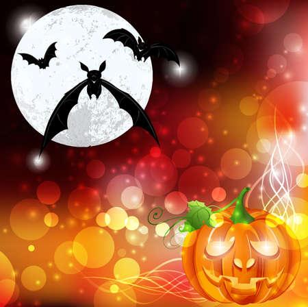 night bat moon pumpkin light grass halloween