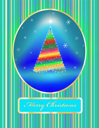 card a fir-tree on bright fires with toys Vector