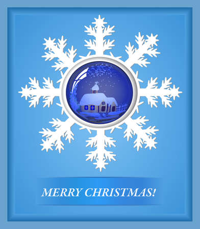 card a snowflake and a toy for new year Vector