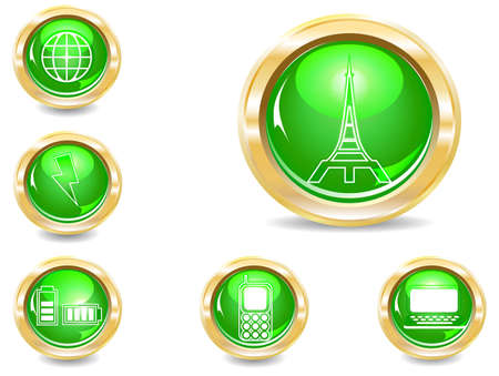 several brilliant varicolored buttons icon – communications