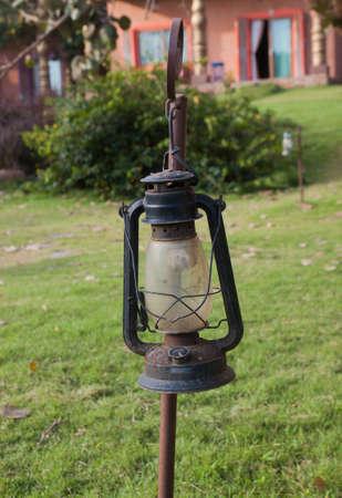 lantern in green field