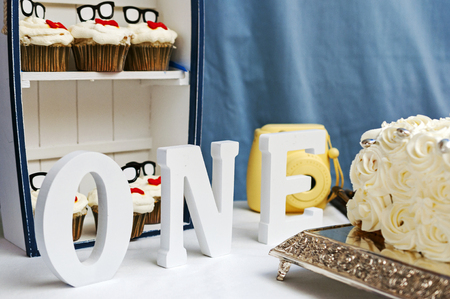 fancy sweet box: One, Letters, First Birthday, Cupcakes And Cake Stock Photo