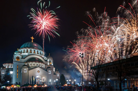 Orthodox New Year's Fireworks at the Temple of the St. Sava in Belgrade Editorial