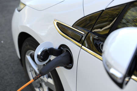 hybrid car: Battery charge of a electric car Stock Photo