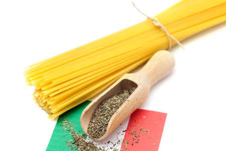 A pasta with seasoning on Italian flag