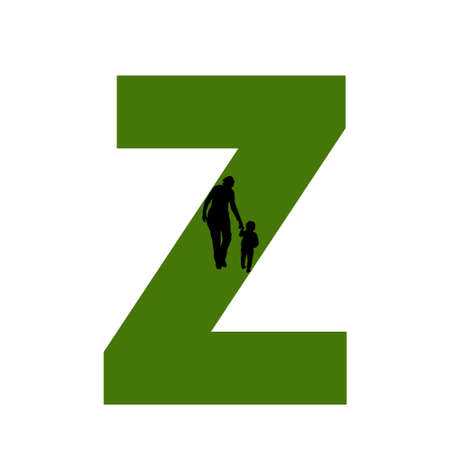 letter Z of the alphabet made with silhouette of a mother and child walking, in green and black