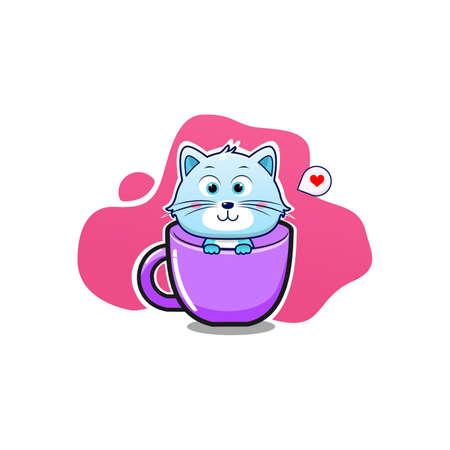 Cute cat in the cup