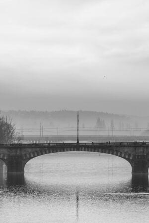 vltava: One of many bridges on River Vltava in Prague