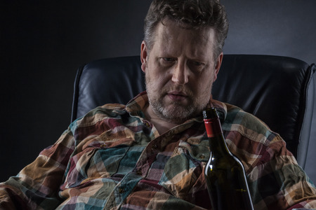 drinking problem: Alcohol may cause big problems Stock Photo