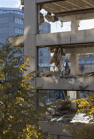 demolishing: Office building going down in Espoo, Finland