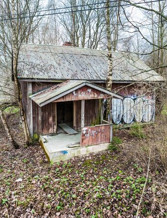 shanty: Deserted wooden house in Espoo, Finland Stock Photo