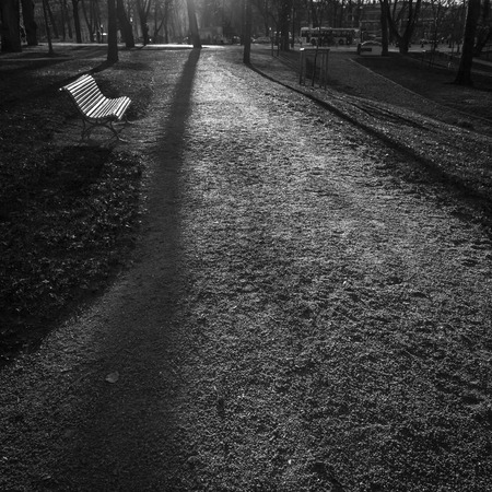 turku: Black and white view of a park in Turku, Finland