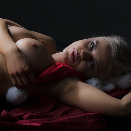 breasts: Nude young woman in studio