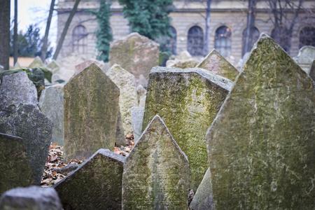 tombstones: Old Jewish tombstones in Josefov, Prague Editorial