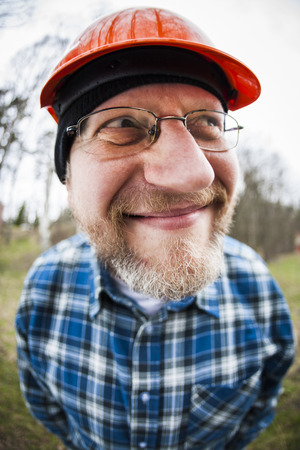 50 54 years: Funny engineer photographed by a fish-eye lens