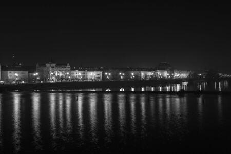 vltava: Night scenery of Prague with river Vltava