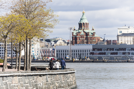 nordic country: Helsinki and the Baltic Sea at springtime Editorial