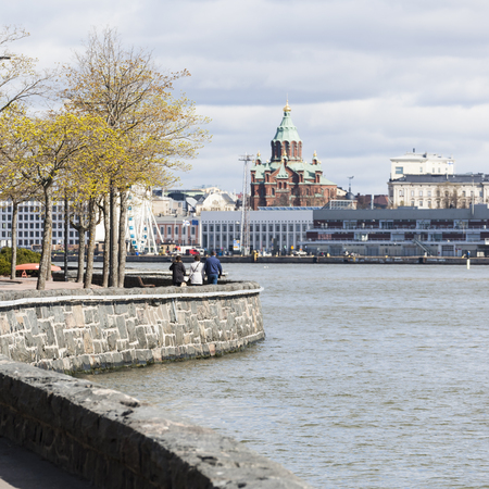 baltic: Helsinki and the Baltic Sea at springtime Stock Photo