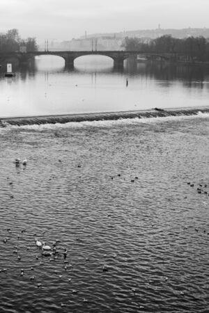 vltava: Morning view on River Vltava in Prague Stock Photo