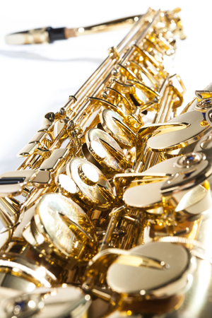 the tenor: Close up of tenor saxophone