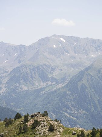 pyrenees: Summer landscape in the Pyrenees in Andorra Stock Photo